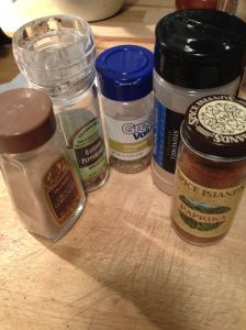 Our substitute for regular cajun seasoning: paprika, coriander, black pepper, oregano, and garlic.